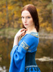 "Medieval linen dress and suede bodice ""Lady of the Lake"""