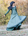 "Medieval Linen Dress, Surcoat And Chaperone Costume ""Autumn Princess"""