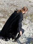 "Black Medieval Cotton Cloak ""Watcher"""