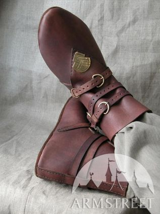 Brown Medieval Leather Shoes with Brass Accents