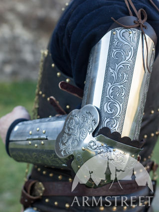 "Medieval Armor Arms ""Knight of Fortune"" Etched"
