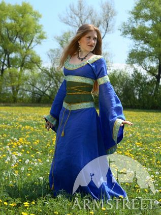 medieval style linen dress with corset belt for sale