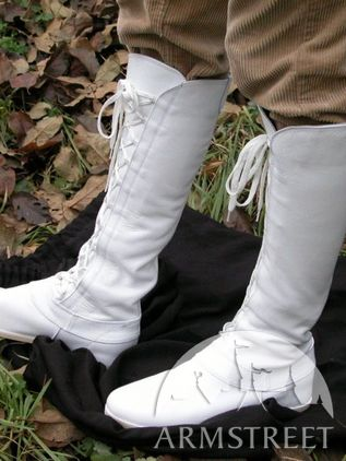 "Medieval White ""Fantasy"" High Forest Boots"