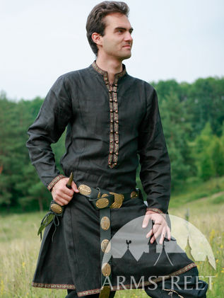 """Elven Prince"" Black Flax Linen Medieval Tunic"
