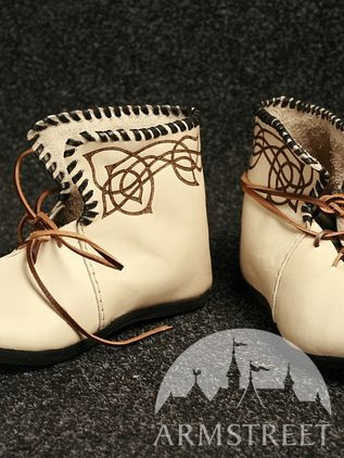 Natural Leather Celtic Medieval Shoes
