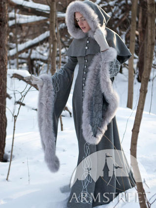 "Woolen Grey Fantasy Coat ""Heritrix of the Winter"""