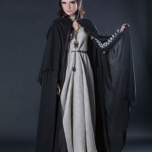 Black Semi Transparent Medieval Fantasy Cloak Robe For
