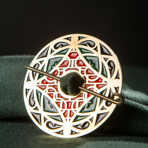 Antiques Medieval Bronze Decorative Brooch Christian Harmonious Colors