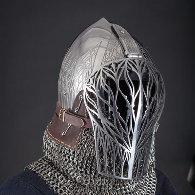 Foliate Medieval Helmet Laser Cut Visor For Sale