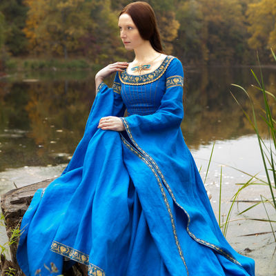 special selection of many styles how to orders Blue medieval dress