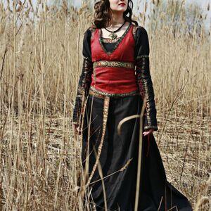 medieval black cotton dress with bodice vest lady hunter