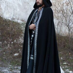 medieval wool black cloak  original celtic trim  sale   black wool ivory