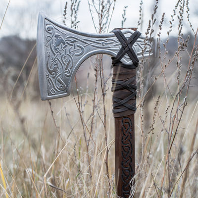 Decorative Viking axe head with etched wolves  Available in