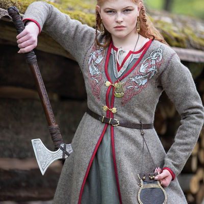 Viking Coat Kaftan With Wolves Embroidery Gudrun The Wolfdottir For Sale Available In Natural Wool Broadcloth By Medieval Store Armstreet