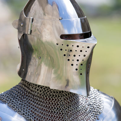 Medieval barbuta helm with visor  Available in: stainless steel 16