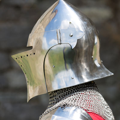 Medieval barbuta helm with visor  Available in: stainless