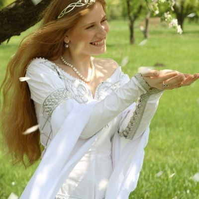 Exclusive white medieval wedding dress with handmade Celtic style ...