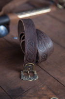 Embossed Leather Viking Belt