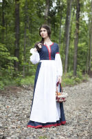 "Medieval Linen Skirt Apron ""Forget Me Not"""