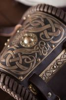 Viking Leather Bracers with Brass Accents