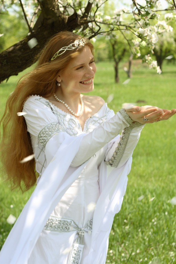 4ebb9400a4b Design of this medieval wedding dress is fully original. Dress is made of  great quality German thin natural cotton and chiffon.