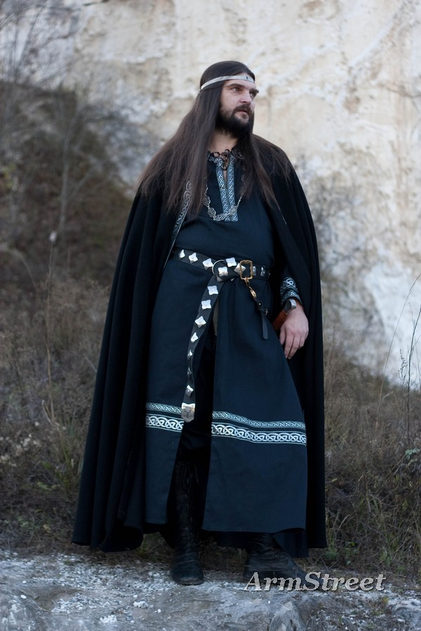Brand new 'Raven' set, black wool cloak, black cotton tunic with silver celtic trim