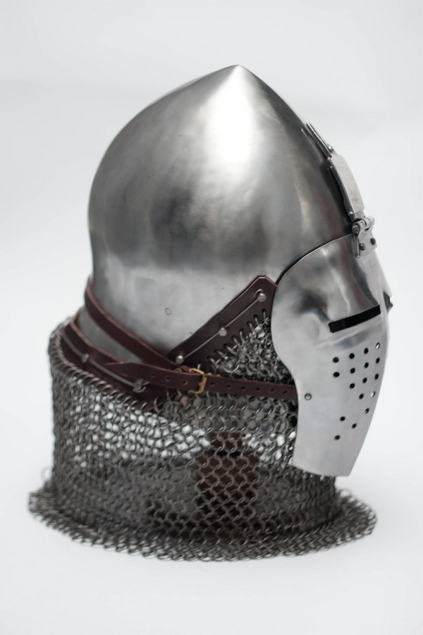 Medieval combat bascinet narrow-face helm SCA armor