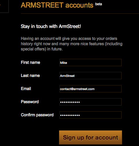 Create your new account at armstreet.com!