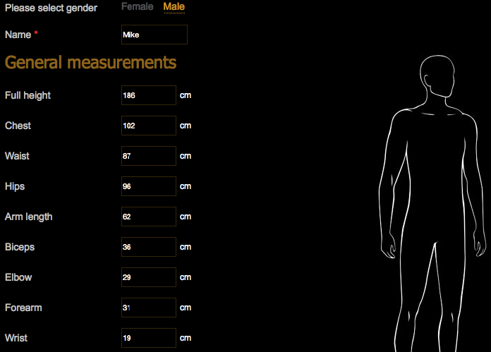 Set of measurements - create once and use for all orders
