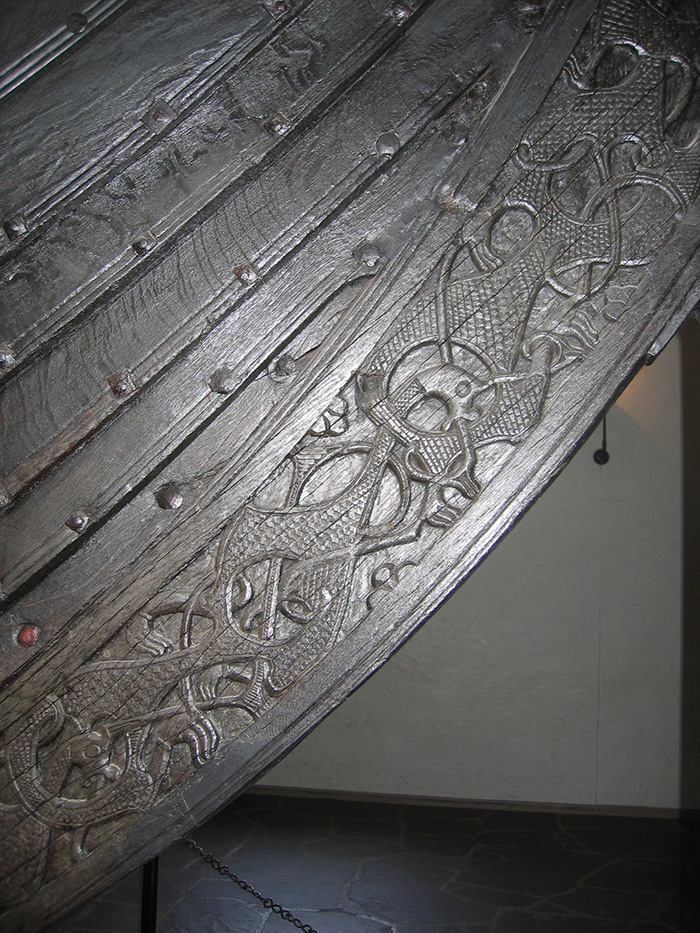 Detail of the Oseberg ship carvings. photo by Karamell, under licence CC BY-SA 2.5