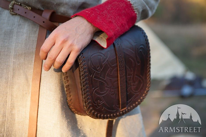 Viking bag with dragon ornament. Leather, embossing