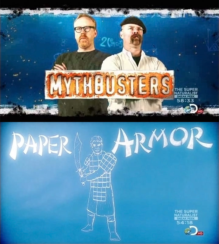 Paper armor episode of Mythbusters starring ArmStreet's lamellar