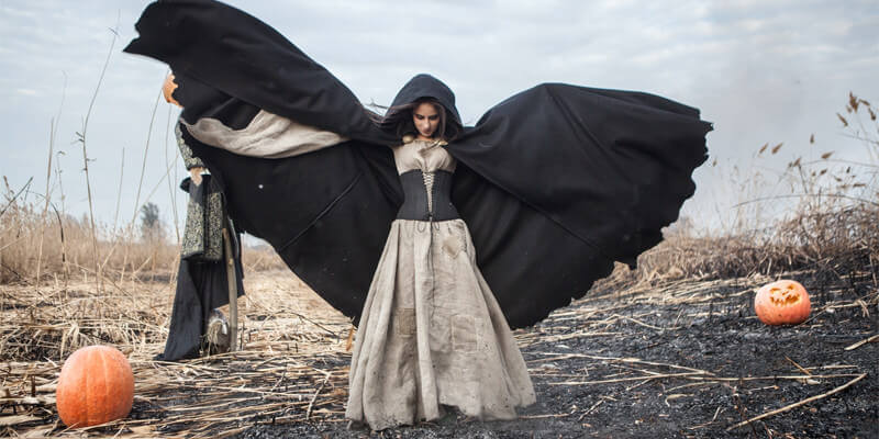 Halloween edition: dramatic black cloak and witch dress