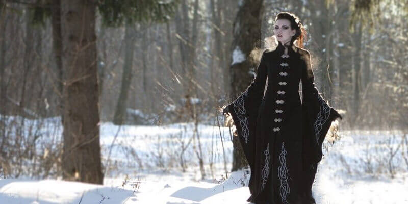 "Long wool gothic coat ""Blackbird"""
