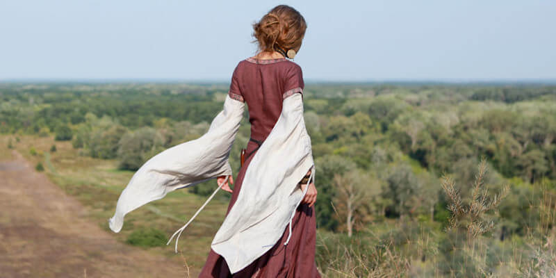 "Medieval flax linen dress, chemise and bodice ""Archeress"""