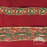 Red linen and yellow celtic trim