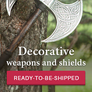 Decorative weapons and shields ready to be shipped