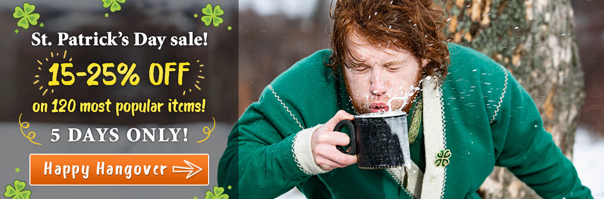 St. Patrick's Day sale! 15-25% off on 120 most popular items! 5 days only!