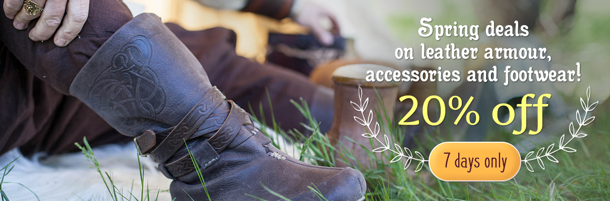 Spring deals on leather armour, accessories and footwear! 20% off