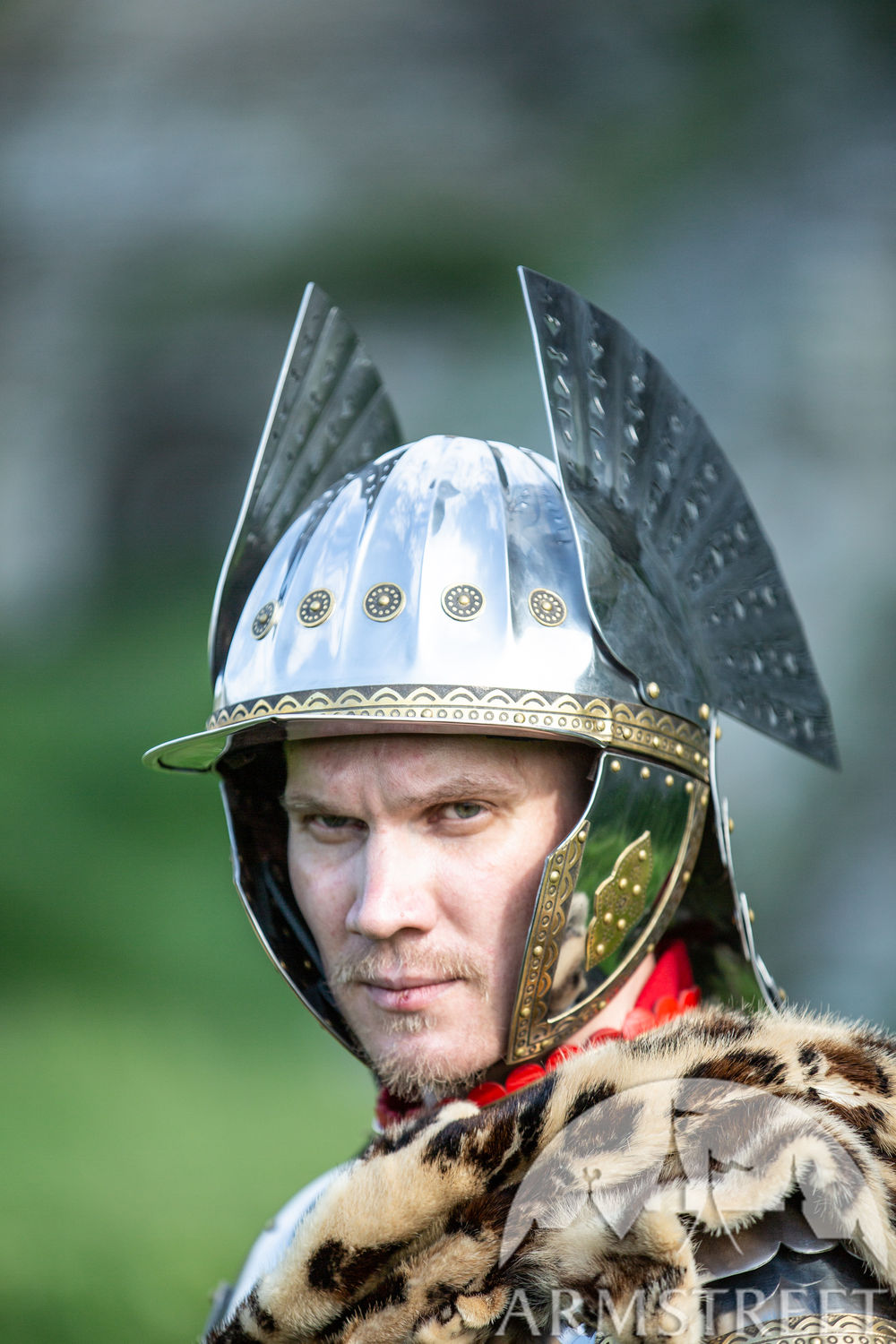 Polish Hussar helmet of stainless steel and brass