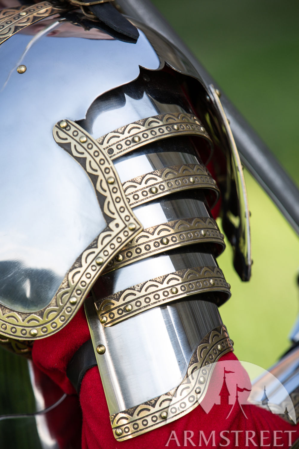 Polish Hussar stainless steel and brass pauldrons