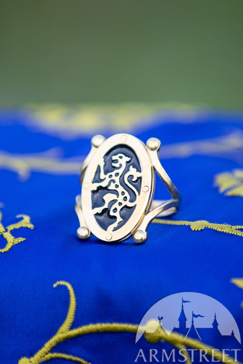 "Brass leopard ring with enamel ""Hussar"""