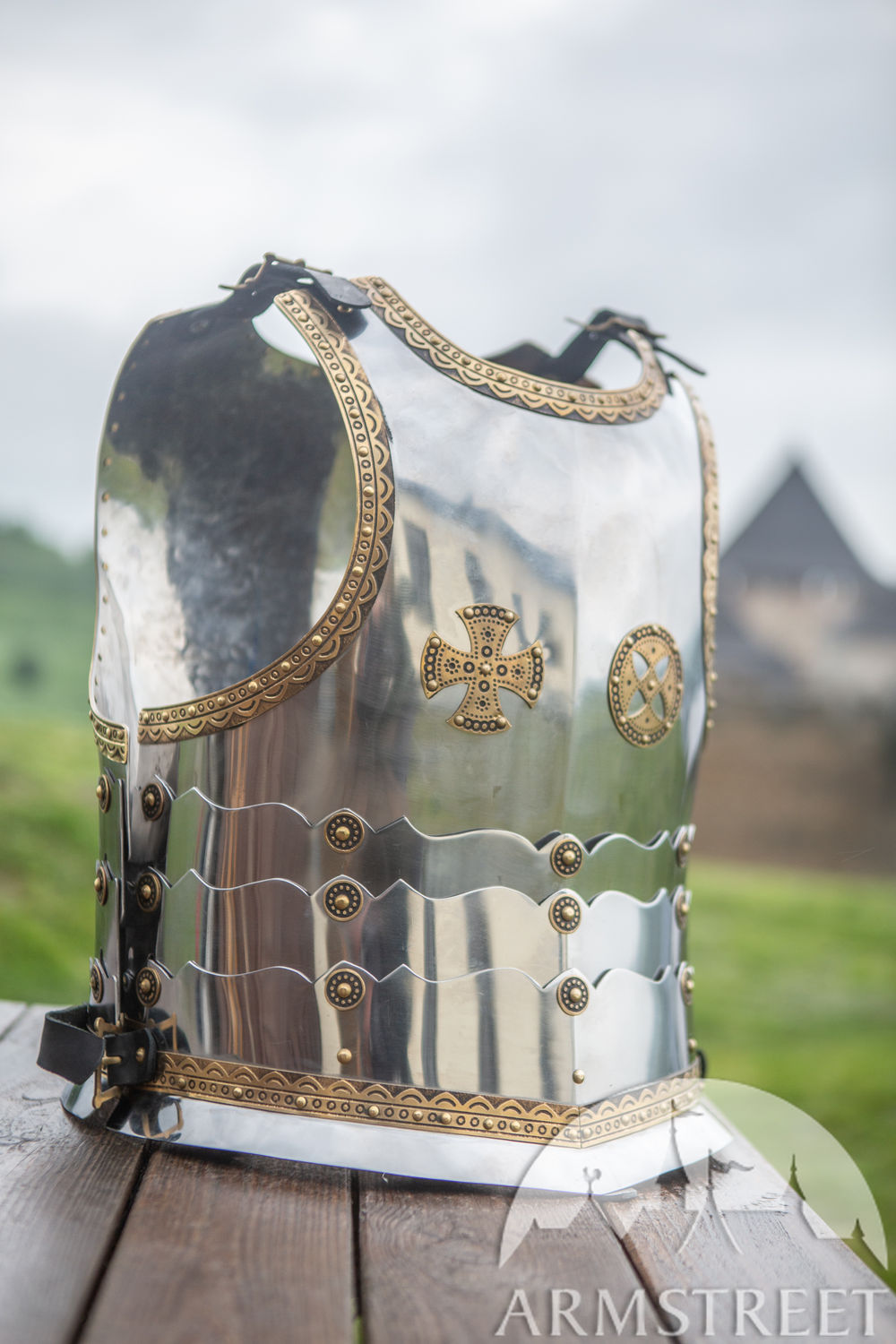Polish Hussar articulated stainless steel cuirass with brass accents