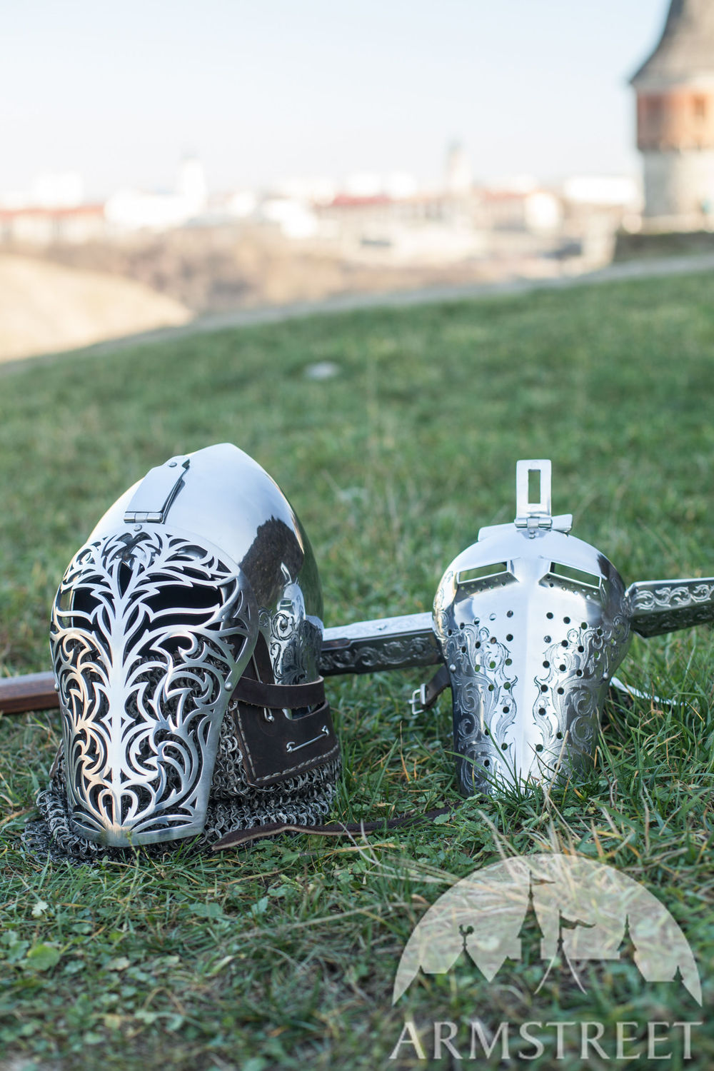 Knight of Fortune bascinet helmet with SCA bargrill
