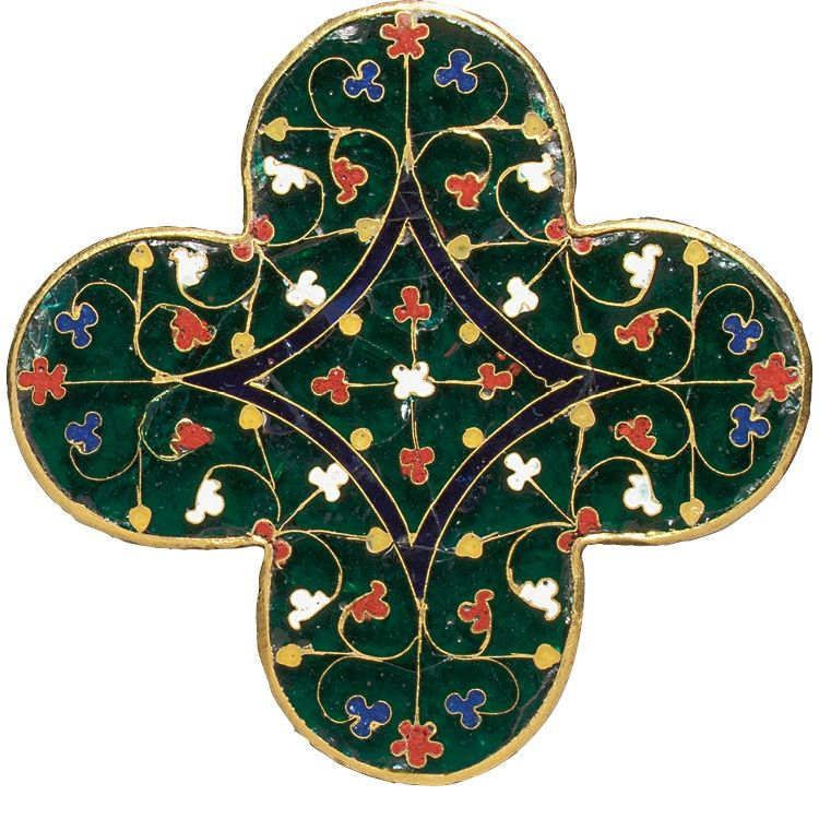 Quatrilobed Plaque, made around 1280–1300 in France, Paris. Gold, cloisonné, and translucent enamel
