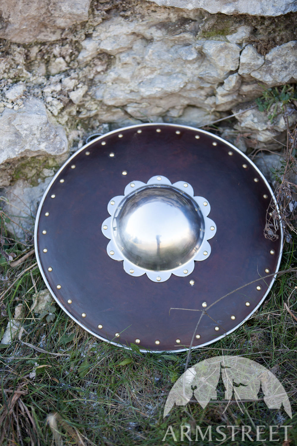 "Leather Covered Buckler Shield ""Hound Of War"""