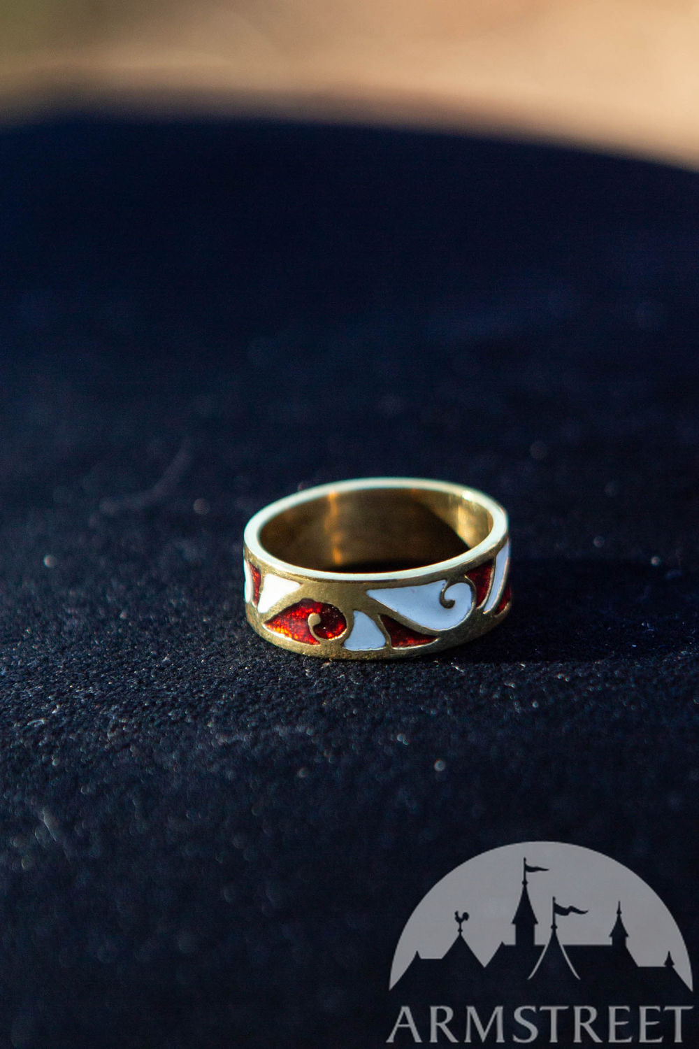 Brass ring with enameled accents