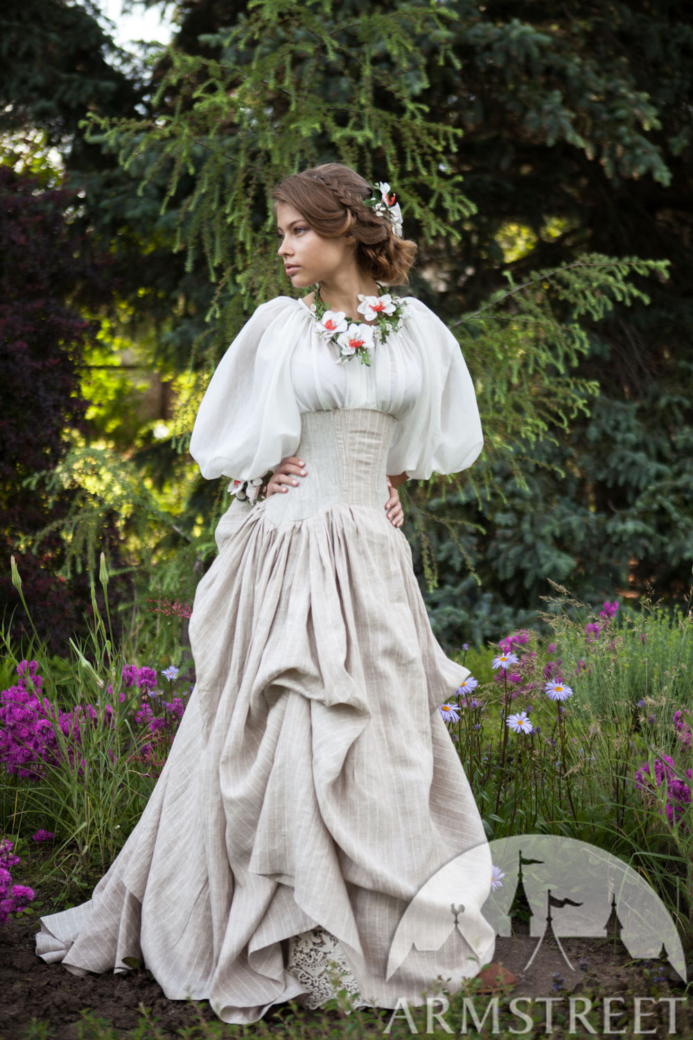 "Linen Corset Skirt ""Snow White"""