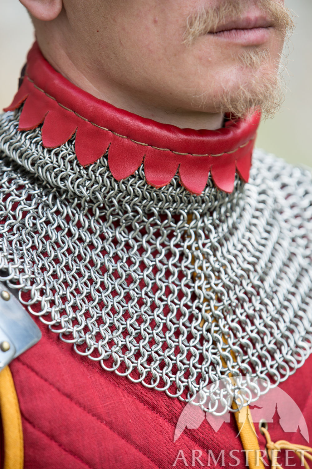 Stainless steel chainmail gorget decorated with leather accents