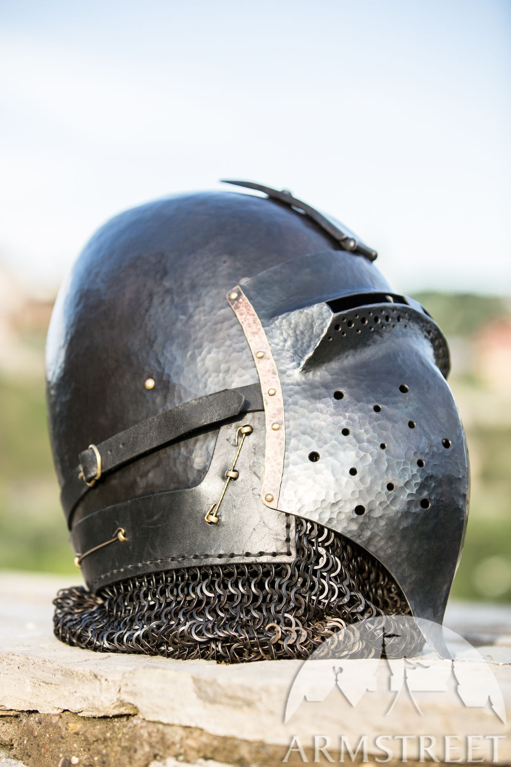 """The Wayward Knight"" Blackened Klappvisor Bascinet XIV century helmet with visor"